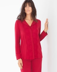 Limited Edition Breathtaking Long Sleeve Pajama Top Ruby