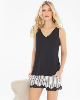 Cool Nights Tank/Shorts Pajama Set Amity Stripe Black