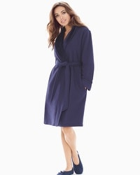 French Terry Short Robe Navy
