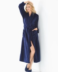Embraceable Long Plush Robe Navy