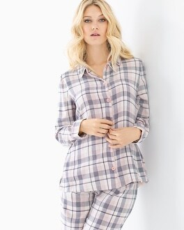 Cozy Woven Cotton Blend Pajama Top Peace And Joy Plaid Ivory