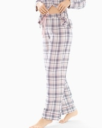 Cozy Woven Cotton Blend Pajama Pants Peace And Joy Plaid Ivory
