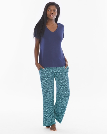 Short Sleeve/Pants Pajama Set Arched Scroll Teal