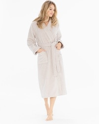 iRelax Cotton Turkish Terry Long Robe Spa Beige