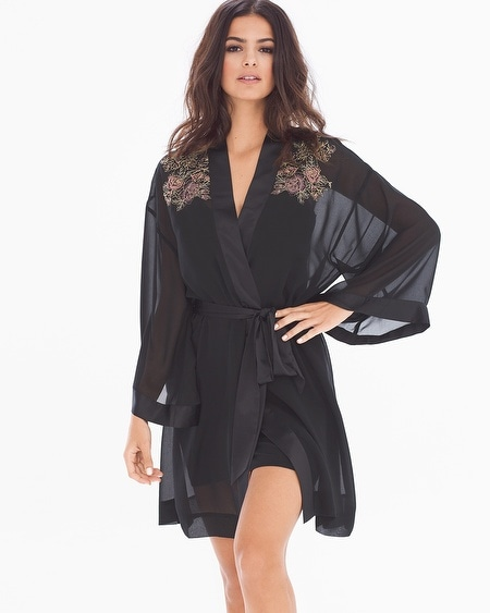 Lace Affaire Short Robe Black