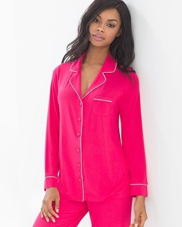 Cool Nights Long Sleeve Notch Collar Pajama Top Pink Punch