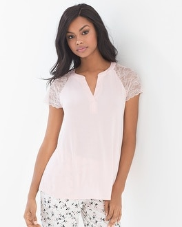 Cool Nights Short Sleeve Popover Pajama Top Rose Quartz