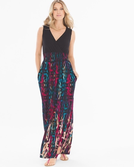 Sleeveless Smocked Waist Maxi Dress Trinidad Tiki Multi