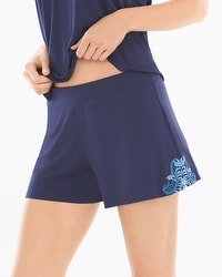 Riviera Scroll Pajama Shorts Navy