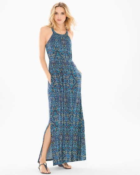 Cross Back Halter Maxi Dress Porto Tile Navy