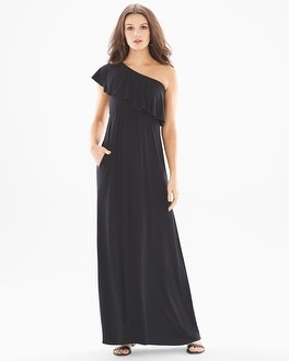 Soft Jersey One Shoulder Ruffle Maxi Dress Black