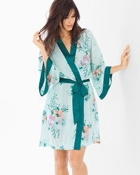 Chiffon Short Robe Garden Party Icy Aqua
