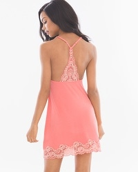 Delicate Floral Lace Cool Nights Sleep Chemise Coral Rose