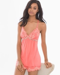 Delicate Floral Lace Cool Nights Pajama Cami Coral Rose