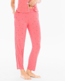 Cool Nights Contast Piped Ankle Pajama Pants Bees Please Coral Rose