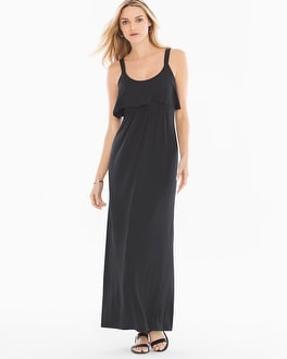 Soft Jersey Flounce Tiered Sleeveless Maxi Dress Black