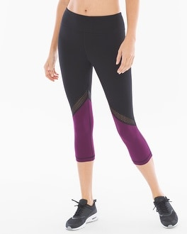 Soma Sport Blocked Crop Leggings With Mesh Black/Henna Plum
