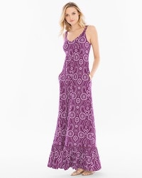 Soft Jersey Tiered Hem Sleeveless Maxi Dress Serenata Eyelet Henna Plum