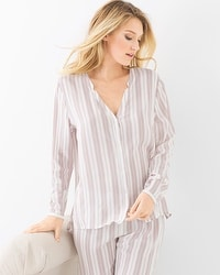 Hanro Lara Long Sleeve Pajama Top Jaquard Stripe