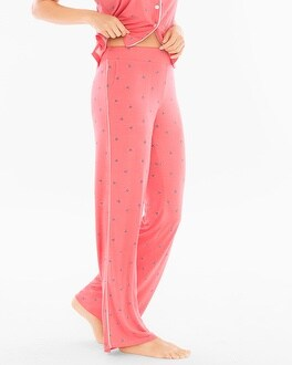 Cool Nights Contrast Piped Pajama Pants Bees Please Coral Rose
