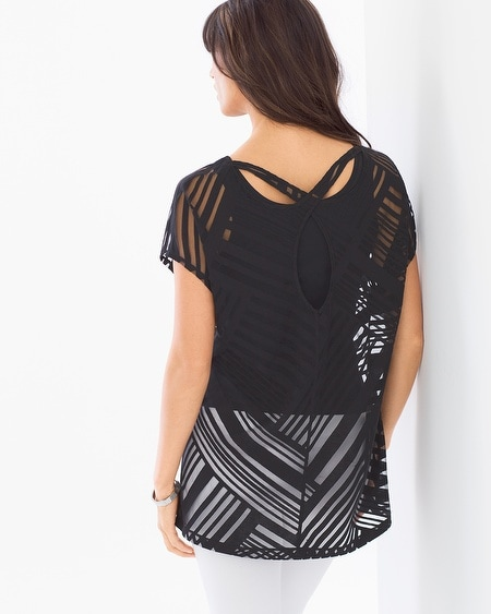 Keyhole Burnout Tunic Standout Burnout Black
