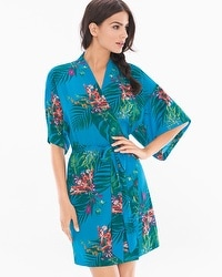 Chiffon Short Sleeve Robe Glamour Foliage Blue Sea