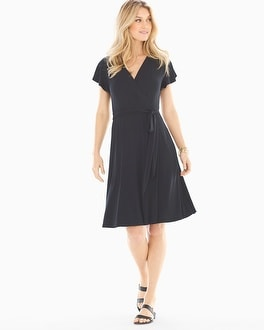 Soft Jersey Flutter Sleeve Wrap Dress