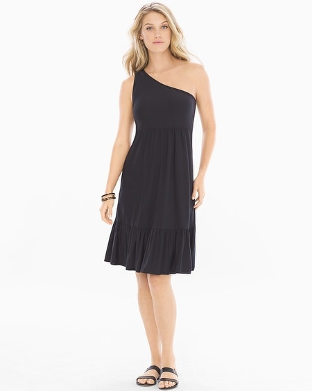 One Shoulder Ruffle Hem Short Dress Black