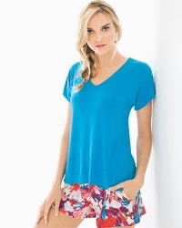 Cool Nights Short Sleeve Dolman Pajama Tee Blue Sea