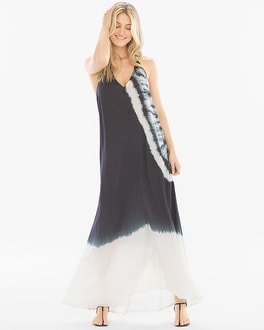 Elan Strappy Tie Dye Coverup Maxi Dress Black