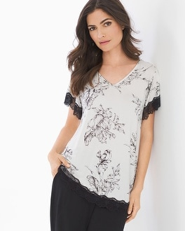 Cool Nights Lace Trim Short Sleeve Sleep Tee Ethereal Ivory