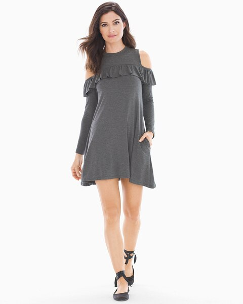 6d690486c038 Cold Shoulder With Ruffle Short Dress Charcoal - Soma