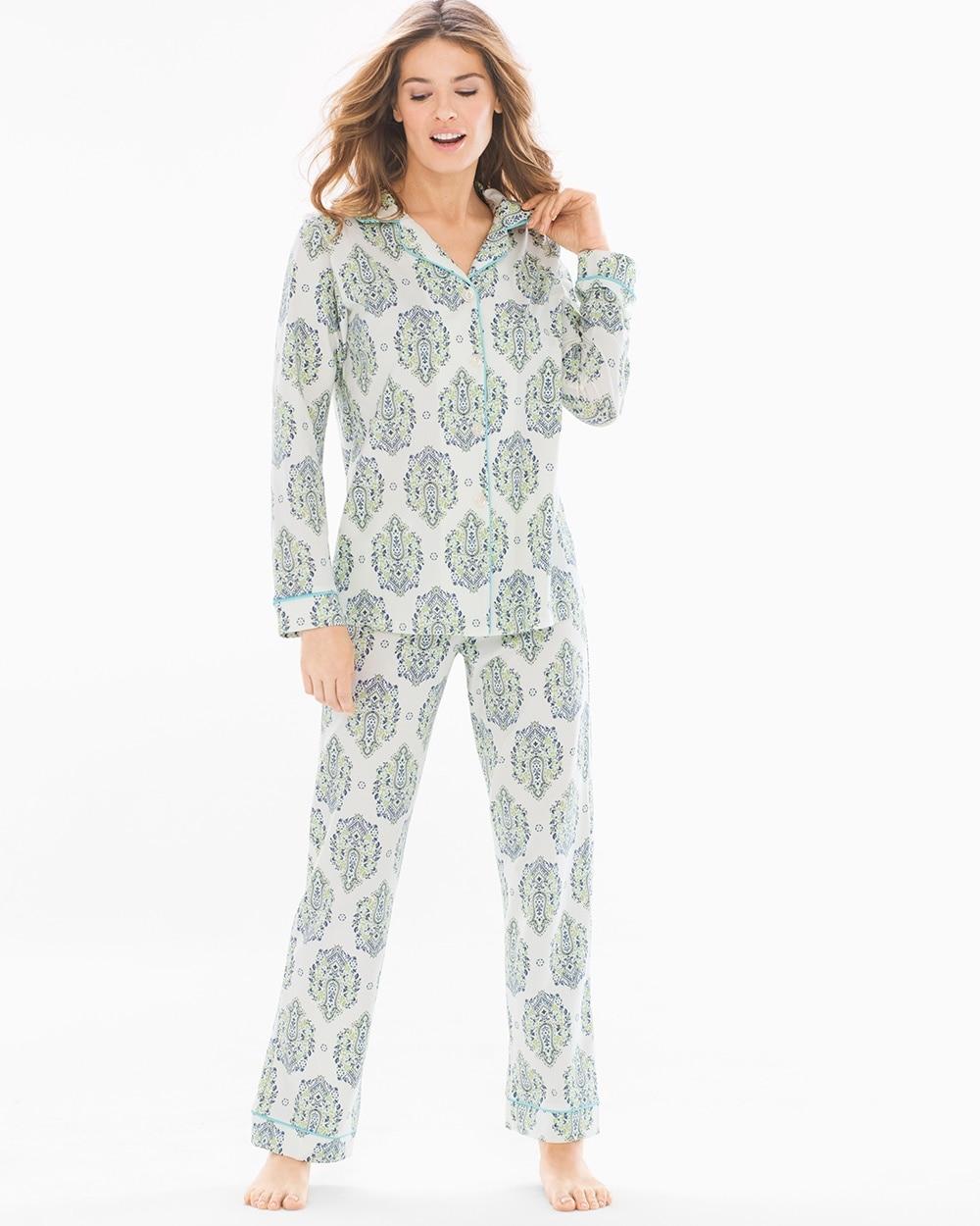 958c4af654 BedHead Knit Cotton-Blend Pajama Set Blue And Green Casa Paisley