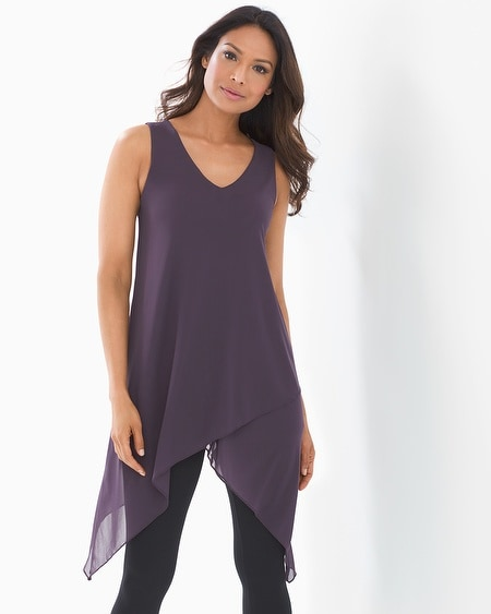 cda73125977fb Soft Jersey Knot Front Sleeveless Tunic Trailing Floral Purple - Soma