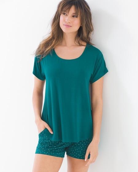 Cool Nights Short Sleeve Tee and Shorts Pajama Set Festivity Dot Gem Green