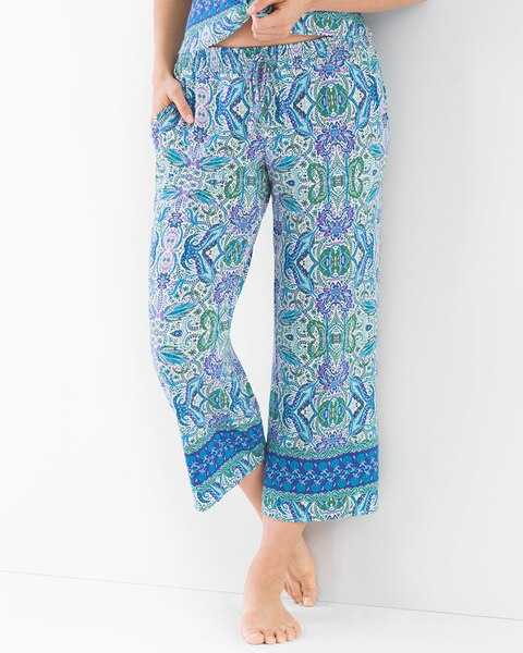 Smocked Waist Crop Pajama Pants Folklore Bdr Royal d604ddd0d