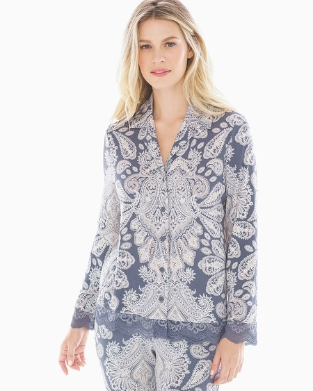 Cool Nights Lace Trim Long Sleeve Notch Collar Pajama Top Stylish Paisley  Mystery Blue af48ebe2f