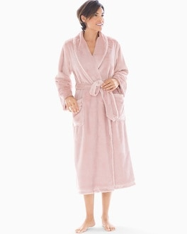 Plush High Shine Long Robe Vintage Pink by