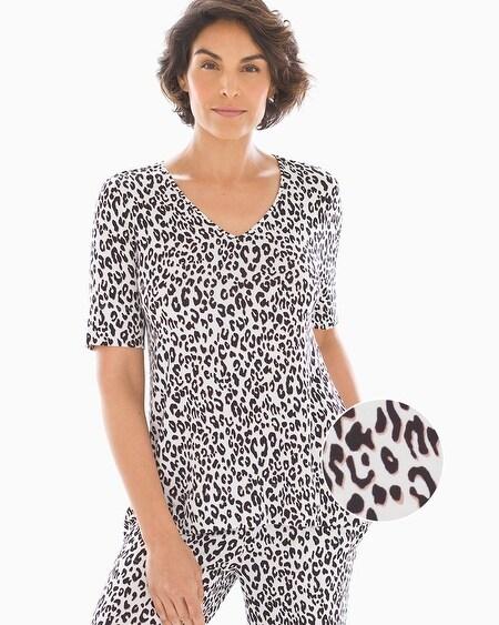 15a57b85fafc Cool Nights Short Sleeve Sharkbite Hem Pajama Tee Leopard Mini Ivory