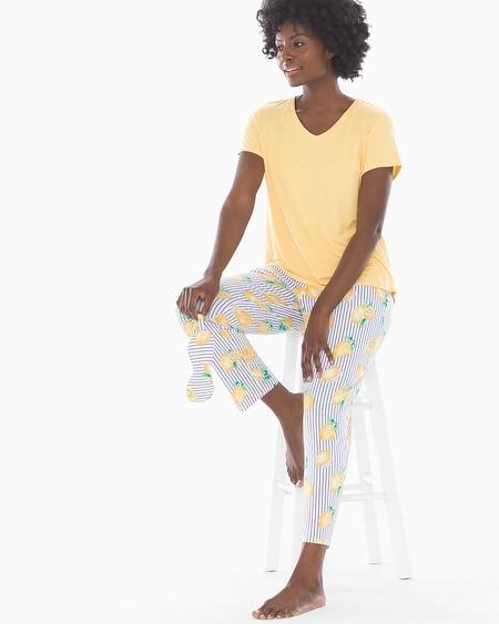 0e0cc2bd2927 Cool Nights V-Neck Short Sleeve Ankle Length Pajama Set with Eyemask Lemon  Zest with