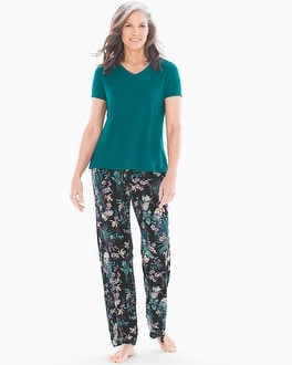 Short Sleeve Pajama Set Fine Foliage Gem Green by Cool Nights