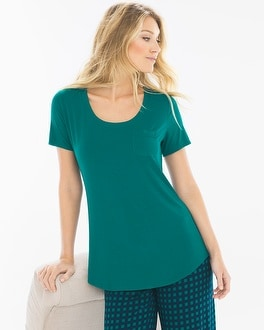 Cool Nights Short Sleeve Pajama Tee with Pocket Green Envy