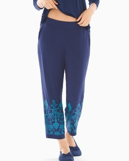 Cool Nights Ankle Pajama Pants Flourish Border Navy