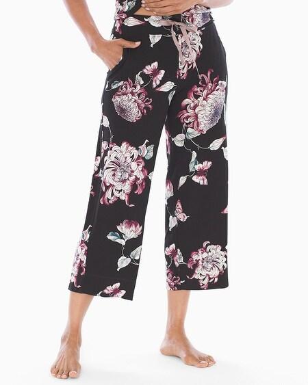 f77219590b9 Cool Nights Grosgrain Trim Crop Pajama Pants Mystical Floral Black