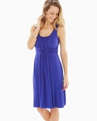 Sleeveless Wrapped Waist Short Dress Royal Blue