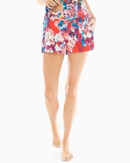 Cool Nights Full Tap Pajama Shorts Artistic Floral Grenadine