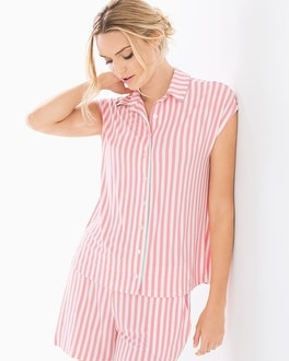 Cool Nights Cap Sleeve Notch Collar Pajama Top Relaxed Stripe Pink Icing
