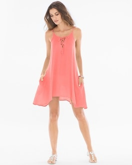 ELAN LACE UP NECK DRESS