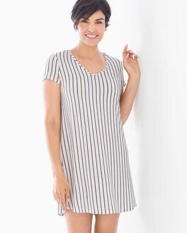 Short Sleeve Sleepshirt Heritage Stripe Ivory by Cool Nights