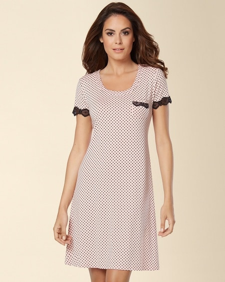 Fit and Flare Sleepshirt Mod Dot Boudoir Pink
